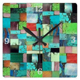 Mehrfarbenedelstein-Mosaik-Blick-Uhr-Türkis Quadratische Wanduhr