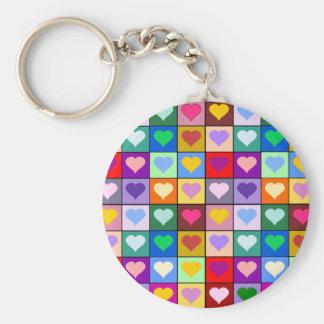 Mehrfarbenherz-Quadrate Schlüsselanhänger