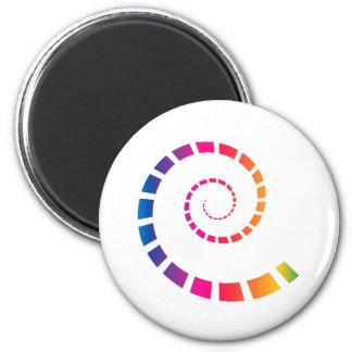MehrfarbenSpirale Runder Magnet 5,1 Cm