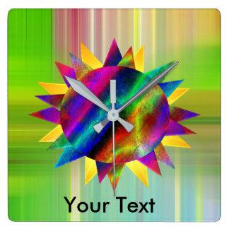 Mehrfarbensun-Uhr Quadratische Wanduhr