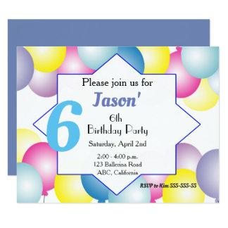 Mehrfarbige Ballon Geburtstags-Party Einladung