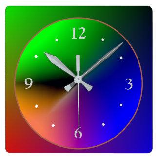 Mehrfarbige belichtete Design>Colorful Wand Cloc Quadratische Wanduhr