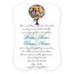 Mehrfarbige Blumen-Liebe-Baum-Hochzeits-Einladung 12,7 X 17,8 Cm Einladungskarte