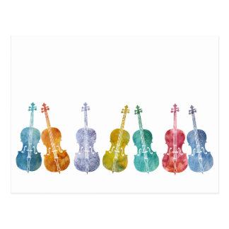 Mehrfarbige Cellos Postkarte