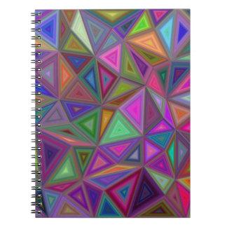 Mehrfarbige chaotische Dreiecke Spiral Notizblock