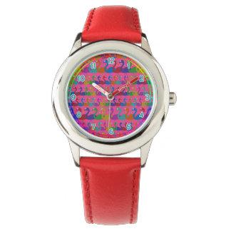 Mehrfarbige Flamingo-Armbanduhr Uhr