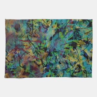 Mehrfarbige gekritzelte abstrakte Kunst Küchentuch