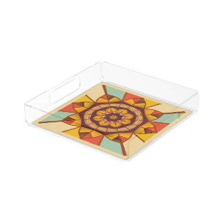 Mehrfarbige geometrische blühen acryl tablett