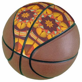Mehrfarbige geometrische blühen basketball