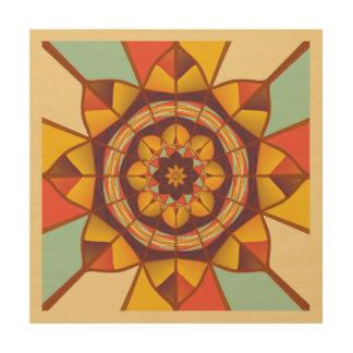 Mehrfarbige geometrische blühen holzleinwand