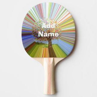 Mehrfarbige gestreifte Herbst-Baum-Kunst Tischtennis Schläger