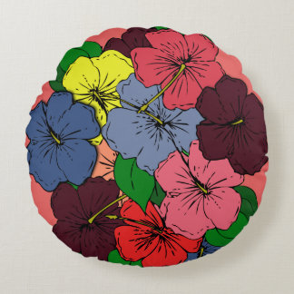Mehrfarbige Hibiskus-Blumen #2 Rundes Kissen