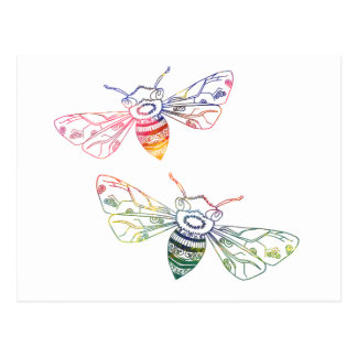 Mehrfarbige Honigbienen-Gekritzel Postkarte