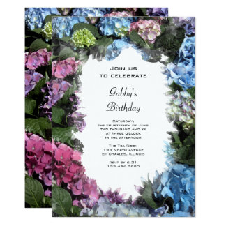 Mehrfarbige Hydrangeas-Geburtstags-Party Einladung