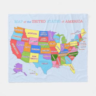 Mehrfarbige Karte der Vereinigten Staaten Fleecedecke