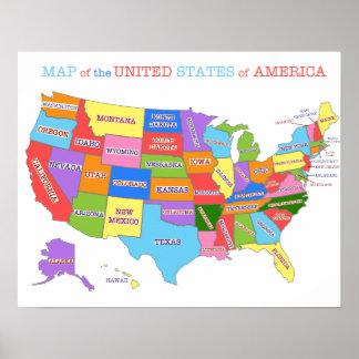 Mehrfarbige Karte der Vereinigten Staaten Poster