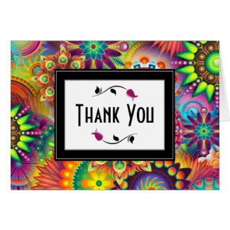Mehrfarbige Kunst-Deko-Blumen-Formen danken Ihnen Karte