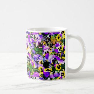 mehrfarbige Pansy-Blumen Kaffeetasse