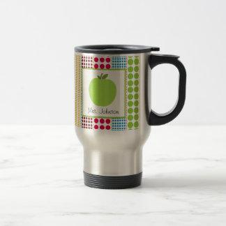 Mehrfarbige Polka-Punkte Lehrer-Tassen-Grün-Apples