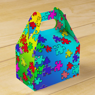Mehrfarbige Puzzlestücke Geschenkschachtel