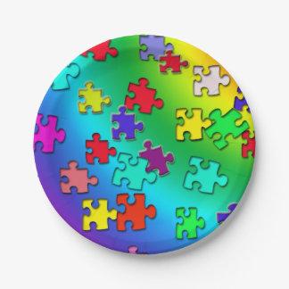 Mehrfarbige Puzzlestücke Pappteller
