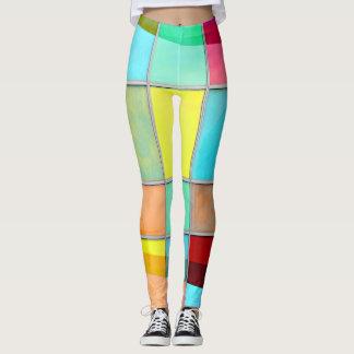 Mehrfarbige Quadrate Leggings