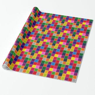 Mehrfarbige Quadrate und Streifen Girly Geschenkpapier