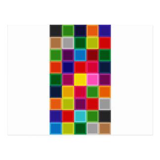 Mehrfarbige Quadrate und Streifen Girly Postkarte