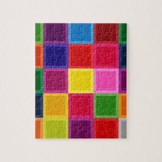 Mehrfarbige Quadrate und Streifen Girly Puzzle