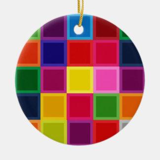 Mehrfarbige Quadrate und Streifen Girly Rundes Keramik Ornament
