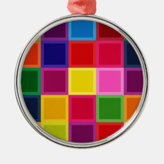 Mehrfarbige Quadrate und Streifen Girly Silbernes Ornament