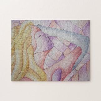 mehrfarbige rosa aufwerfendame der abstrakten puzzle