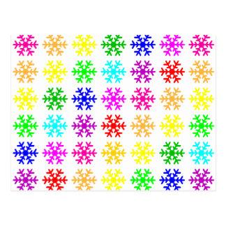 Mehrfarbige Schneeflocken Postkarte