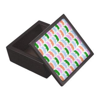 Mehrfarbige Schwein-Rosa-blaues Grün-orange Prämie Kiste