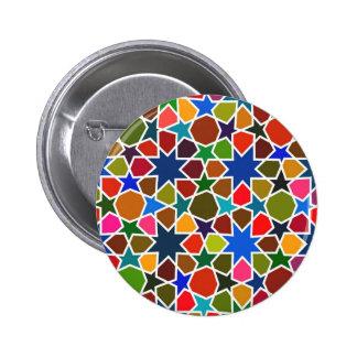 Mehrfarbige Sternchen-Vereinbarung - Silk Malerei  Runder Button 5,7 Cm