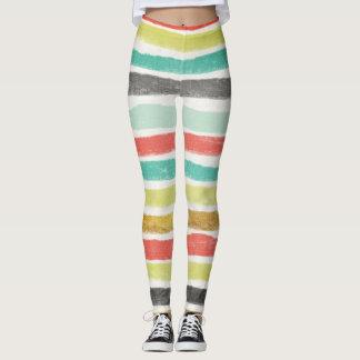 Mehrfarbige Streifen in gedämpften Juweltönen Leggings