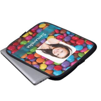 Mehrfarbige Süßigkeitens-Fotoschablone Laptop Sleeve