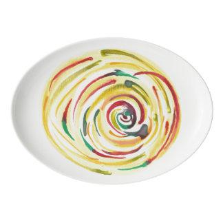 Mehrfarbige Watercolor-Umhüllungs-Servierplatte Porzellan Servierplatte