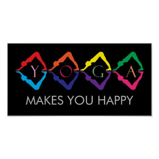 Mehrfarbige YOGA-Mädchen - Textschablone Poster