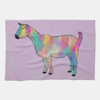 Mehrfarbige Ziege mit Farben-Spritzer-Tier-Kunst Geschirrtuch