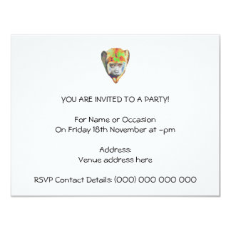 Mehrfarbiger Affe 10,8 X 14 Cm Einladungskarte