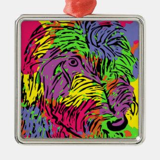 Mehrfarbiger Hund Silbernes Ornament