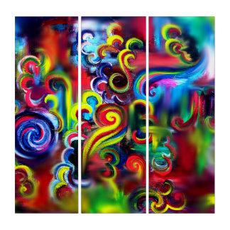 Mehrfarbiger Wirbel Triptychon