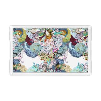 Mehrfarbiges abstraktes Blumenüberlagerungsmuster Acryl Tablett