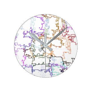 Mehrfarbiges abstraktes Muster Runde Wanduhr
