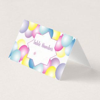 Mehrfarbiges Ballon Geburtstags-Party themed Platzkarte
