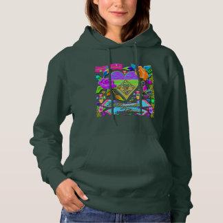 Mehrfarbiges Herz und Blumen mit Kapuze Sweatshirt