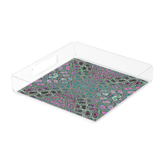 Mehrfarbiges Hologramm-Schmetterlings-Fraktal Acryl Tablett