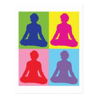 Mehrfarbiges Lotos-Pose-Yoga Postkarte