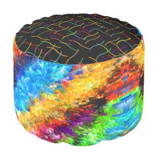 Mehrfarbiges psychedelisches abstraktes hocker